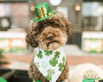 Shamrocks Pet Bandana || Personalized Celtic Medallions Clovers Personalized Dog Scarf || Reversible Custom Gift by Three Spoiled Dogs
