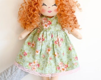 Personalised doll, rag doll, ginger hair doll, fabric doll, curly hair doll, birthday gift, girls gift, textile doll, dolls, Christmas gift