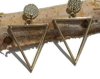 Geometric Earrings | Hammered metal | Triangle earrings | Dangle Earrings | statement earrings
