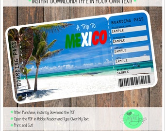 Printable Ticket to Mexico Boarding Pass, Customizable Template, Digital File - You Fill and Print
