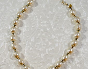 Vintage 1960s Baroque Pearl Miriam Haskell Costume Pearl Necklace Miriam Haskell Designer Necklace Designer Jewelry Runway Necklace