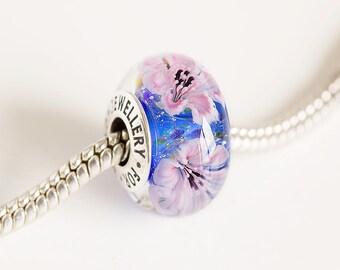 Lampwork bead. Silver core bead. Murano glass Big hole bead, Fits Pandora. European Bracelet beads. Lampwork flower beads. European charm