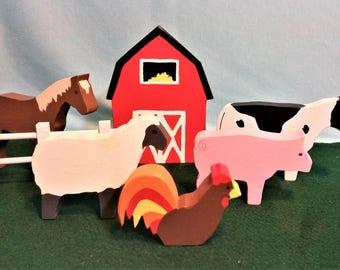 7 Piece, Chunky, Wooden, Farm Play Set