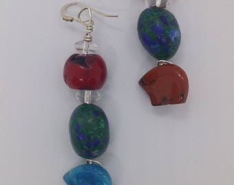 Turquoise Coral Bear fetishes Earrings