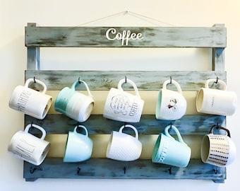 Coffee cup rack, coffee cup holder,  wedding gift, housewarming gift, kitchen decor, mug rack, rustic decor, farmhouse kitchen, barista