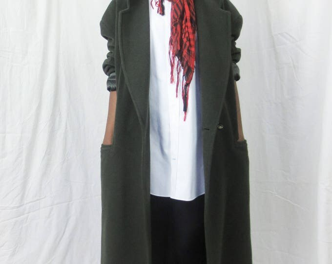 90s The Americans oversize dropped shoulder MOSS green cashmere wool double breasted made in Italy coat -