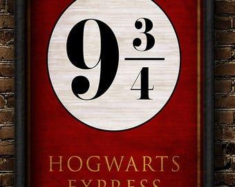Harry, Potter, Harry Potter, Platform, Platform 9 3/4, Hogwarts, Hogwarts Express, Kings Cross, London, 9, 3/4, Platform 9 3/4 poster print