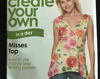Simplicity Create Your Own in a Day Top with Empire Waist and Shaped Hem - Size 10 12 14 16 18 20 22