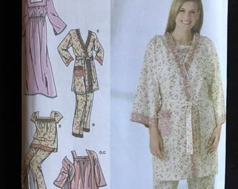 Simplicity 4319 - Sleepwear Collection with Nightgown, Pajama Set, and Wrap Front Robe - Size XS S M