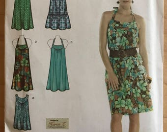 Simplicity 3778 - Karen Z Yoked Halter Style, Sleeveless, or Short Puff Sleeves Dress with Slightly Flared Skirt - Size 10 12 14 16 18