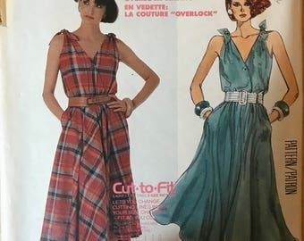 McCalls 2483 - 1980s Easy to Sew Sleeveless Dress with Surplice, Blouson Bodice, and Flared Midi Skirt - Size 8 10 12