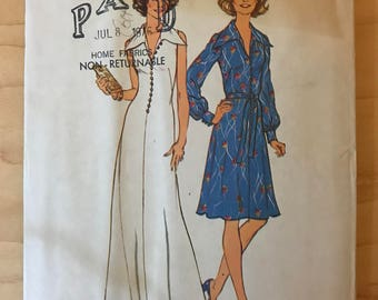 Simplicity 6883 - 1970s Look Slimmer Fit and Flare Dress with Wide Pointed Collar and Button or Belt Trim - Size 14 16 Bust 36 38