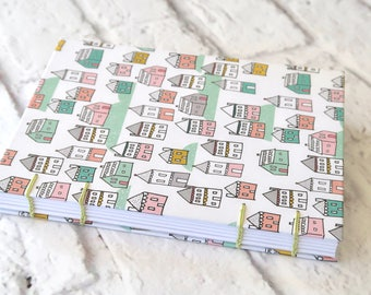 Houses Hand Bound Coptic Sketchbook Notebook Hardcover 160 Blank White Pages