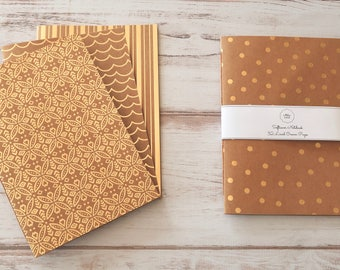 Gold Kraft Softcover Notebook Journal Travel Notebook Dots Hand Bound Notebook 32 Cream Lined Pages *** Sold Individually ***
