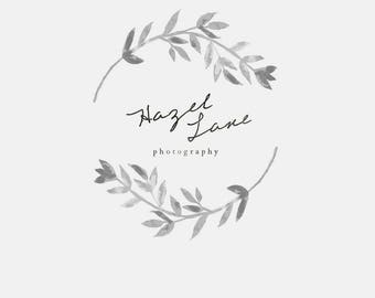 "Logo for Photographers - Watercolor Calligraphy logo - branding for small businesses - handwritten graphic design - Premade logo ""Hazel"""
