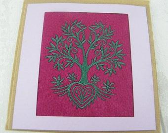 Tree and Heart Embroidered Greetings Card - ideal Mother's Day or birthday card