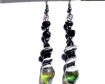 Black, ivory and green Lampwork earrings