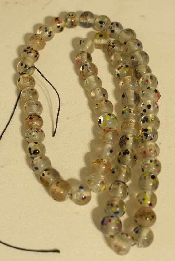 Beads Frosted White Speckled Glass Jewelry Necklaces India Glass Beads 10mm