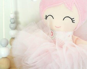 Handmade Fabric Doll - Cloth Doll - Ballerina Doll - Rag Doll - Heirloom Doll - Doll with Tutu - First Birthday Gift - Doll Decor - Soft Toy