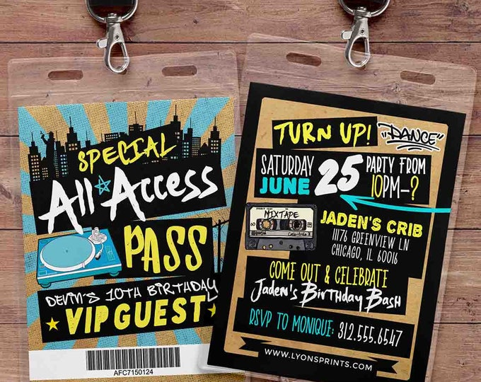 Hip Hop, Swagger, VIP PASS, backstage pass, Vip invitation, birthday invitation, pop star, lanyard, Rock Star birthday, DJ, Turn table
