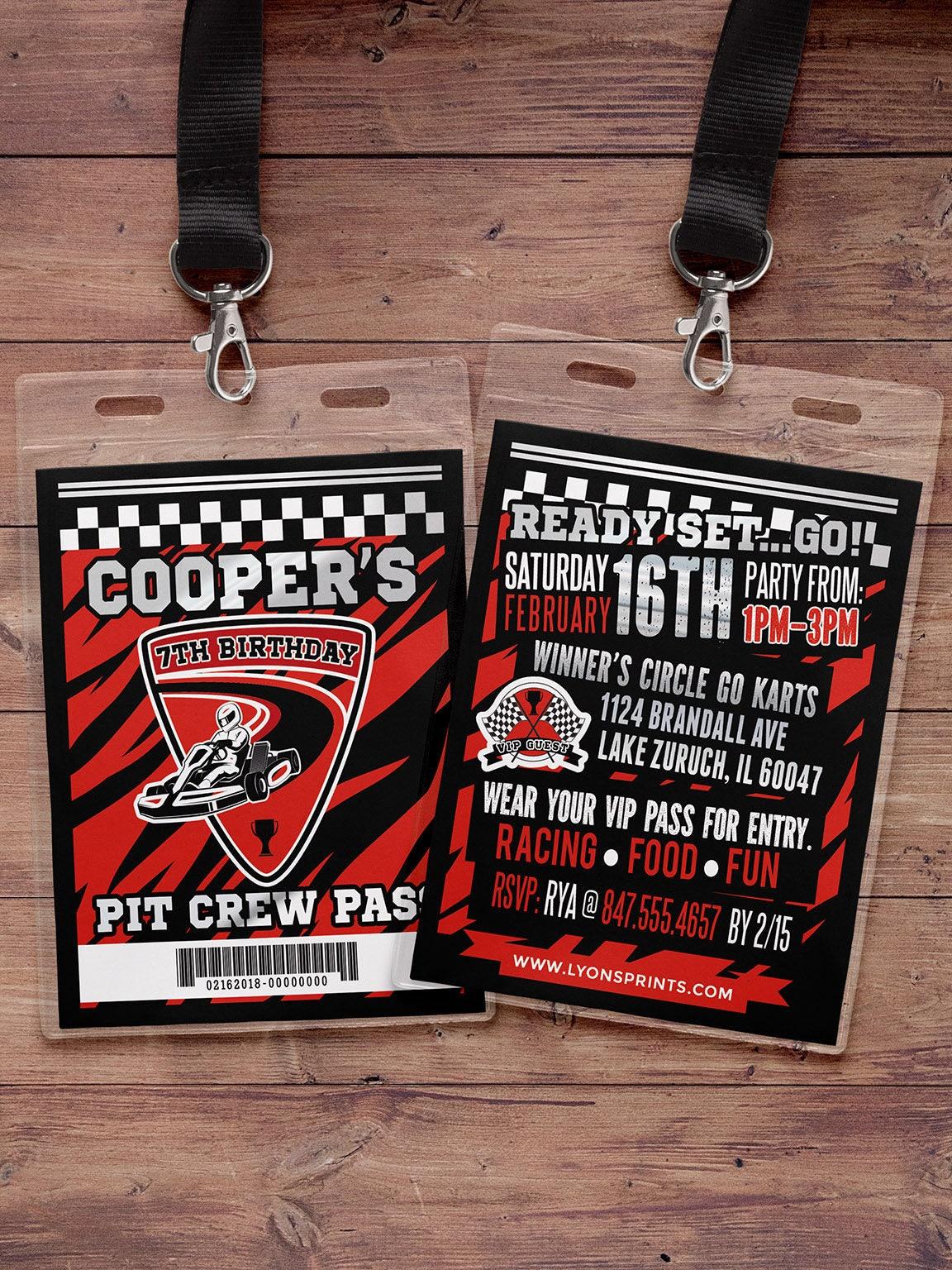 Go-Kart Birthday Invitation, Karting Birthday Invitation, Go-Kart ...
