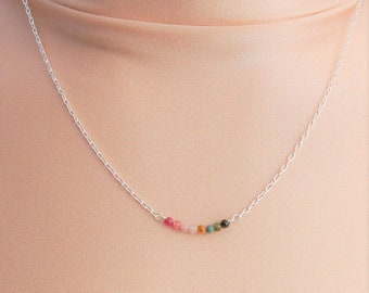 Sterling Silver Tourmaline Bar Necklace