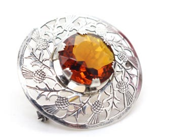 Vintage Sterling Silver Scottish Thistle Citrine Stone Ward Brothers Brooch