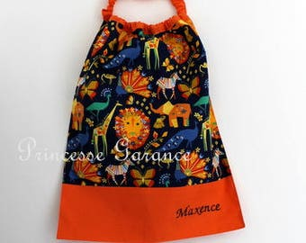 Christmas, birthday, canteen * bib, napkin, canteen, with elastic at the neck - cotton origami animals - custom