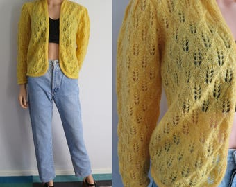 Yellow wool cardigan sweater jumper, french vintage retro, hand knitted, open front, puff shoulders, small medium