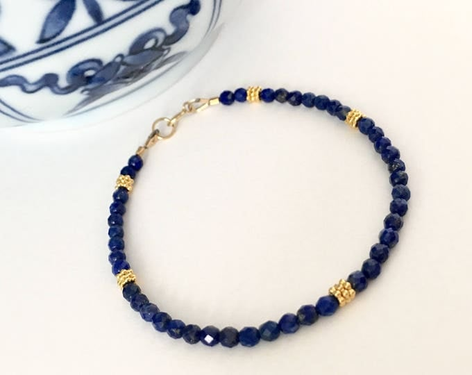 Featured listing image: Dainty Lapis Lazuli Gold Bracelet