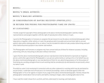Printable Photography Contract, Model Release, Permission Form, Photo Studio Form, INSTANT DOWNLOAD!