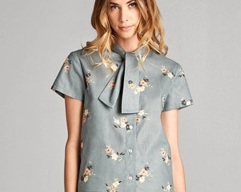 Gray Foral Bella Bow Tie Button-up