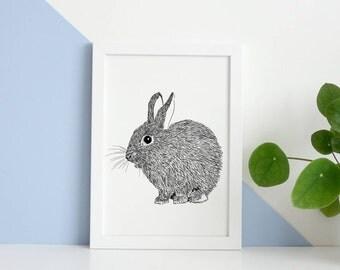 Rabbit Nursery Print, Baby and Toddler, Modern Nursery, Wildlife Print, New Baby Gift, Baby Shower Gift, Digital Art, Bunny Rabbit Print
