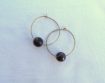 Brass earrings and natural stones - Brown -