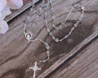 FAST SHIPPING!! Beautiful Rosary with Sunflower Beads, Wedding Rosary, Communion Rosary, Christening Rosary, Confirmation Rosary, Gift