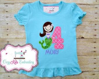 Mermaid Birthday Shirt, Mermaid Shirt, Mermaid Birthday Party Shirt, Custom Girl Shirt, Girl Shirt, Mermaid Embroidery, Mermaid applique