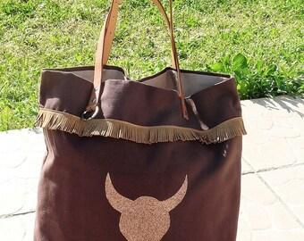 Brown Bag sequined Buffalo head and copper gold fringes, coachella boho Bohemian