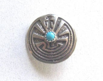 Native American Man In The Maze Silver and Turquoise Button