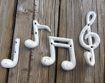 Music Note Hook Set, White Cast Iron Clef and Note Hooks, Classical Sheet Music Band Room Decor, Rustic Musical Nursery, Band Dorm Accent