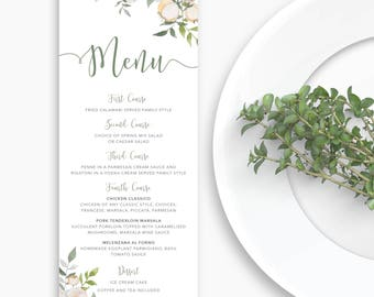 Floral Wedding Menu, Wedding Menu Card, Menu Template, Floral Wedding, Wedding Menu DIY, Wedding Menu, Garden Wedding, Floral, Menu Template