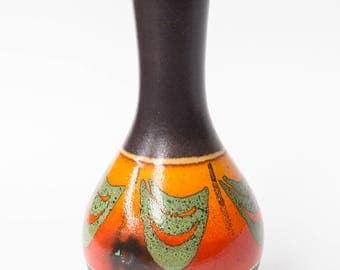 West German Retro Vase, Orange Brown Dumler & Breiden, Wax Resist Pattern