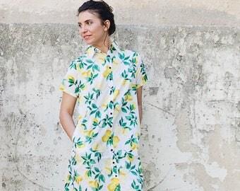 Yellow lemon dress, boyfriend dress shirt, white dress, 100% cotton, summer dress