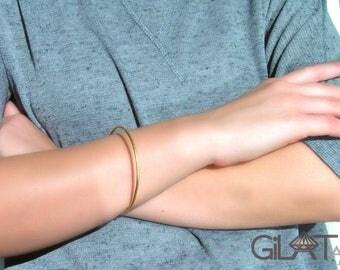 Solid Gold Bangle Bracelet , 14K solid yellow gold bangle bracelet.