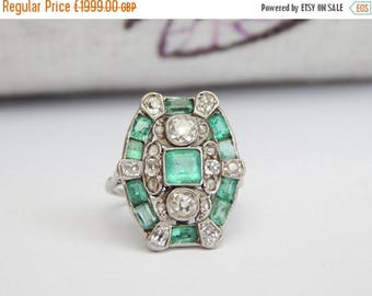 sale art deco emerald ring with old cut diamonds in white gold
