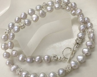 Grey Freshwater Pearl necklace Sterling Silver toggle gray pearl necklace large pearl necklace Baroque Pearl jewelry jewellery gift