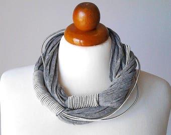Statement Necklace Grey Jewelry grey necklace chunky necklace statement collar necklace fiber necklace big bold necklace silver bib necklace