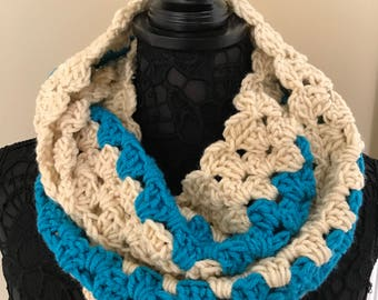 "Women's Crochet Infinity Scarf Cream and Blue Stripe Handmade 55"" circumference x 6"" wide - S23"