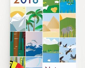Bilingual Calendar 2018: Nature