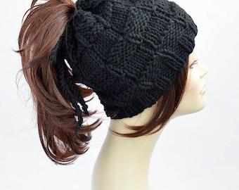 Ponytail Hat Pattern // Easy Knitting Pattern Hat Pattern Ponytail Beanie Womens Hat Pattern Ponytail Hole Hat Ponytail Hat Scarf Pattern