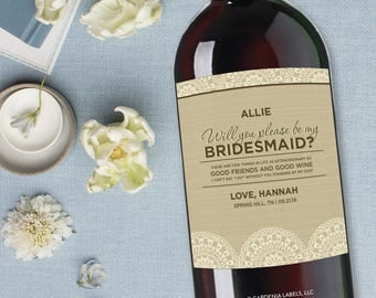 Burlap Bridesmaid Wine Label, Will you be my Maid of Honor, Asking Bridesmaid Gift, Rustic Wedding Wine Label, Bridal Party Proposal Gift